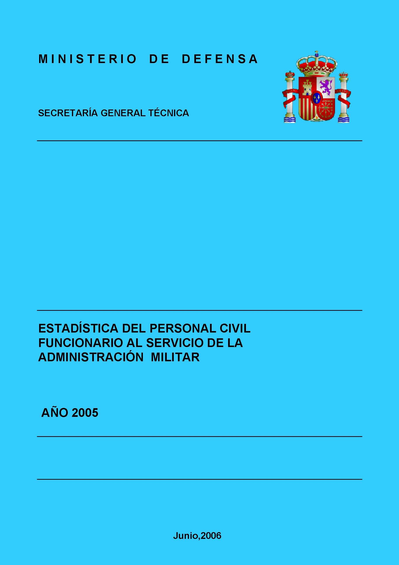 ESTADÍSTICA DEL PERSONAL CIVIL FUNCIONARIO AL SERVICIO DE LA ADMINISTRACIÓN MILITAR 2005