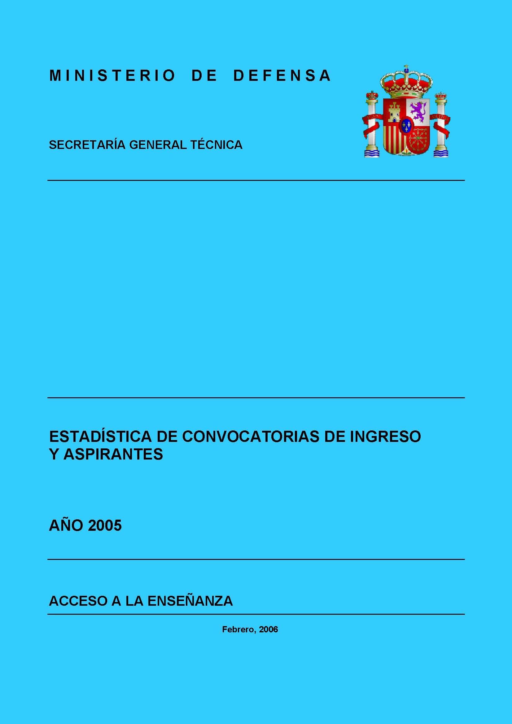 ESTADÍSTICA DE CONVOCATORIAS DE INGRESO Y ASPIRANTES 2005