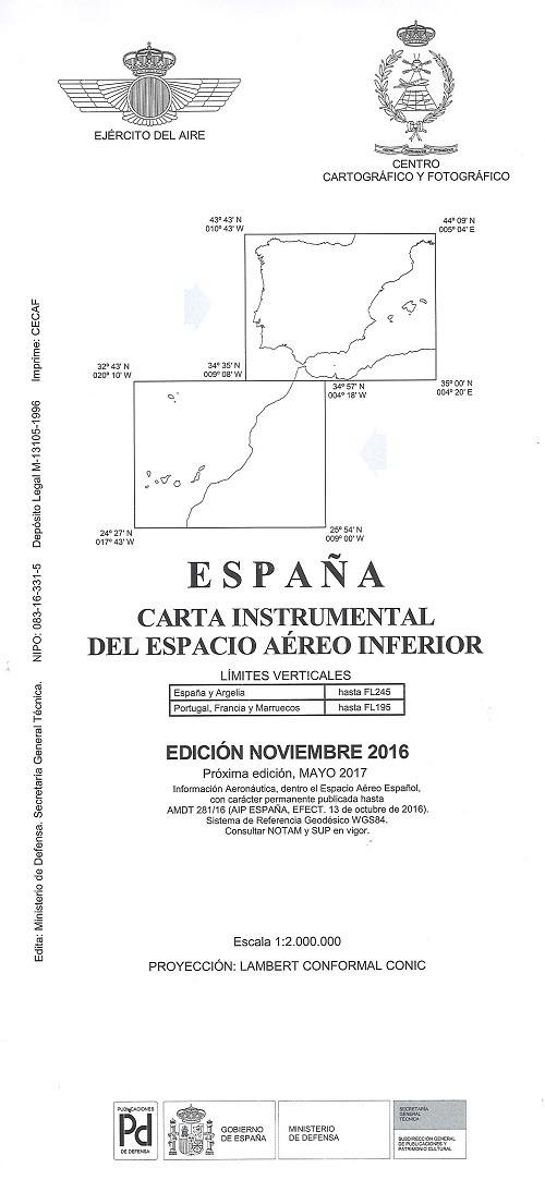 CARTA INSTRUMENTAL DEL ESPACIO AÉREO INFERIOR. NOVIEMBRE 2016