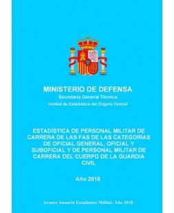 ESTADÍSTICA DE PERSONAL MILITAR DE CARRERA DE LAS FAS DE LAS CATEGORÍAS DE OFICIAL GENERAL, OFICIAL Y SUBOFICIAL Y DE PERSONAL MILITAR DE CARRERA DEL CUERPO DE LA GUARDIA CIVIL 2018