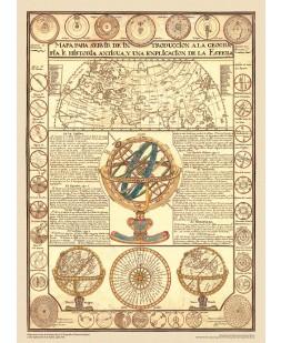 Mapa para servir de introducción a la Geografía e Historia Antigua y una explicación de la Esfera. Siglo XVIII