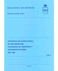 ESTADÍSTICA DE ACCIÓN SOCIAL, MUTUAS BENÉFICAS, PATRONATO DE HUÉRFANOS Y PATRONATO DE CASAS 1989, ESTADÍSTICA DE
