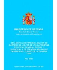 ESTADÍSTICA DE PERSONAL MILITAR DE CARRERA DE LAS FAS DE LAS CATEGORÍAS DE OFICIAL GENERAL, OFICIAL Y SUBOFICIAL Y DE PERSONAL MILITAR DE CARRERA DEL CUERPO DE LA GUARDIA CIVIL 2016