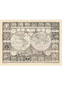 CARTA GENERAL DE LA TIERRA O MAPAMUNDI. A. CLOUET, 1788.